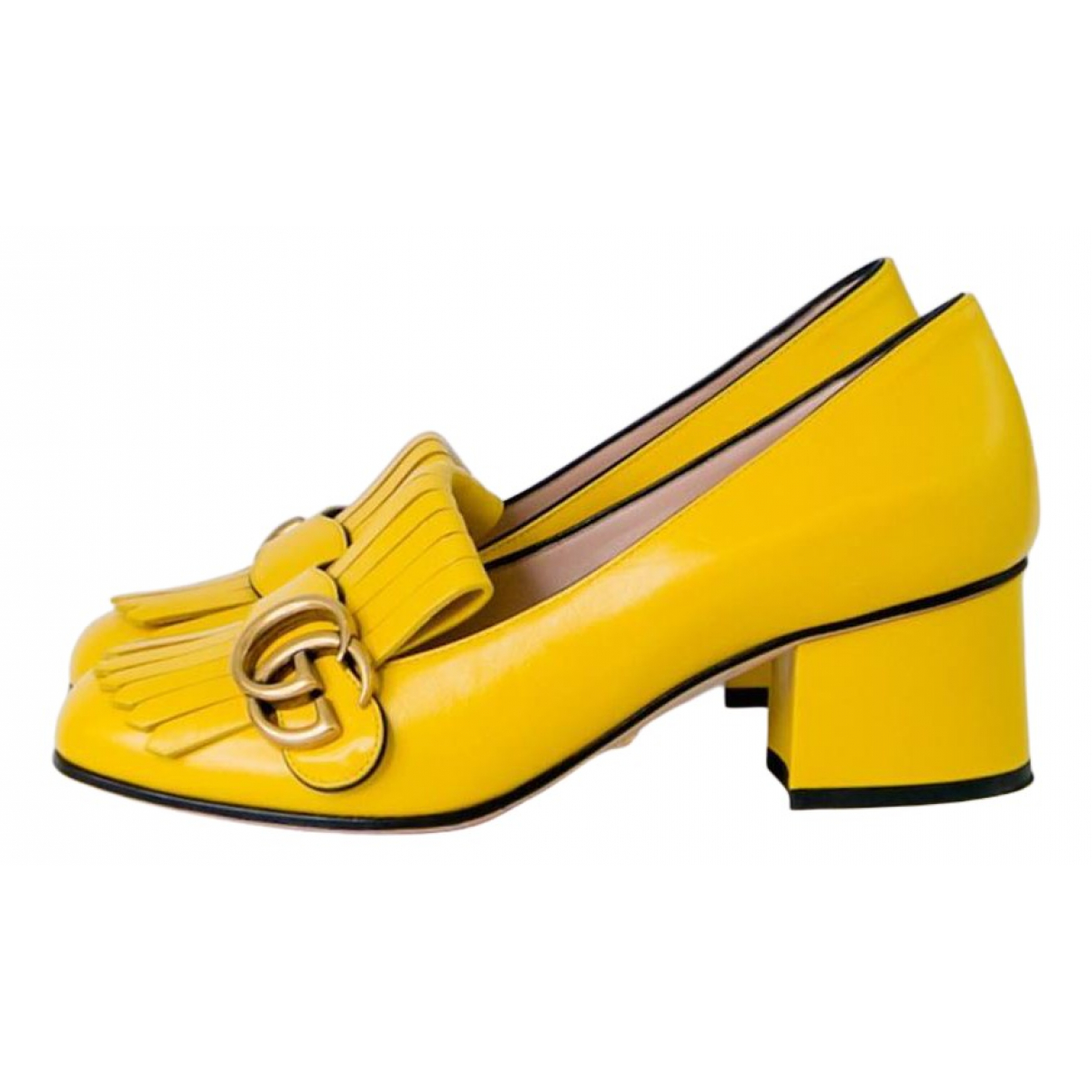 Gucci Marmont Yellow Leather Heels for Women 36 EU