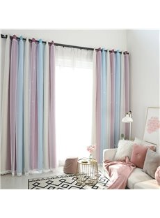 Romantic Style Three-colors Cloth and White Voile Sewing Together 2 Panels For Liiving Room and Bedroom