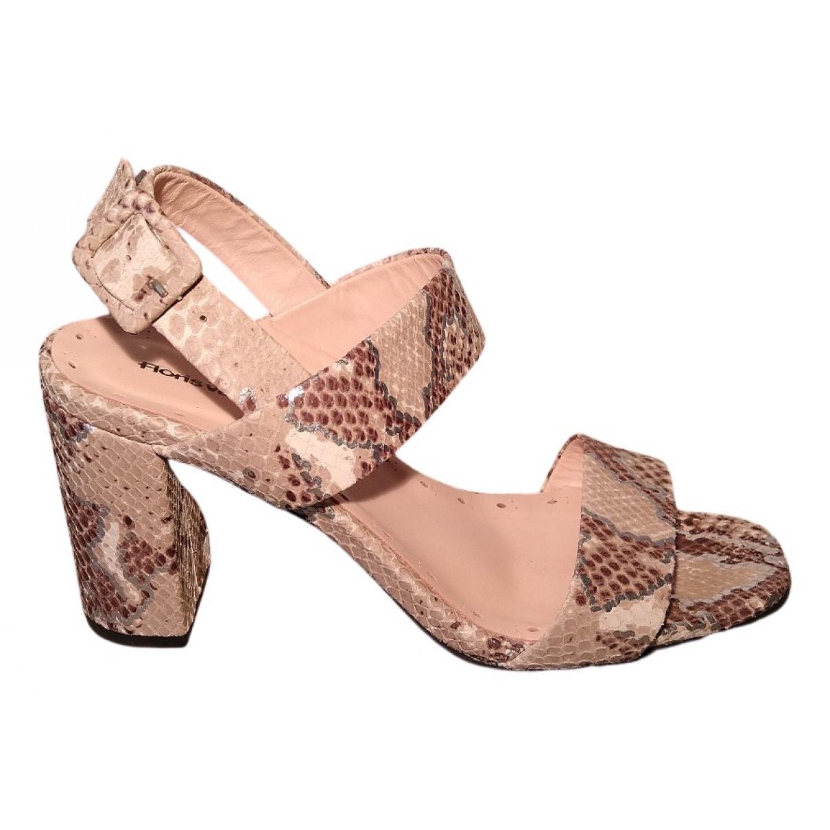 Floris Van Bommel N Grey Leather Sandals for Women 37 EU