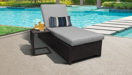 Barbados Collection BARBADOS-W-1x-ST-GREY Patio Set with 1 Chaise with Wheels  1 Side Table - Wheat and Grey