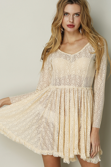 Yoins See-through Apricot Mini Dress in Lace