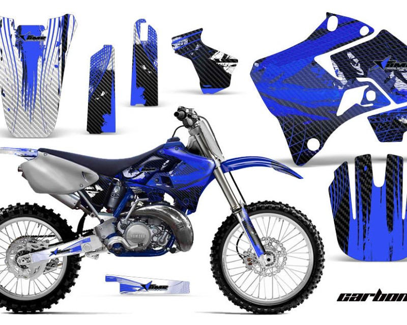 AMR Racing Dirt Bike Graphics Kit Decal Sticker Wrap For Yamaha YZ125 YZ250 1996-2001áCARBONX BLUE