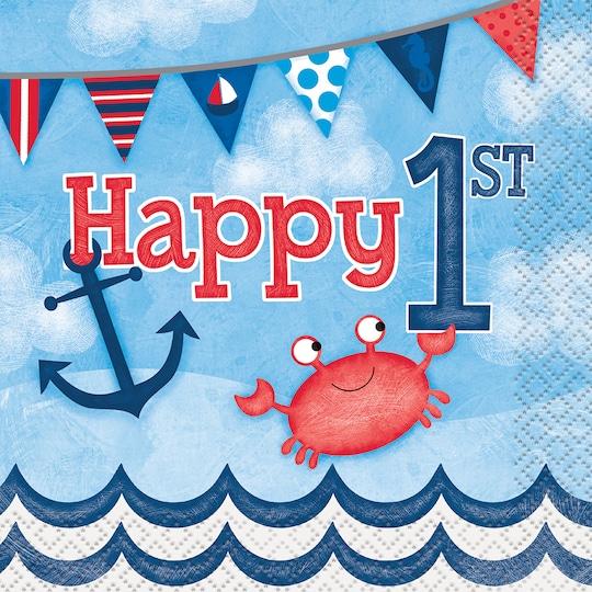 Nautical 1st Birthday Beverage Napkins, 16Ct By Unique | Michaels®