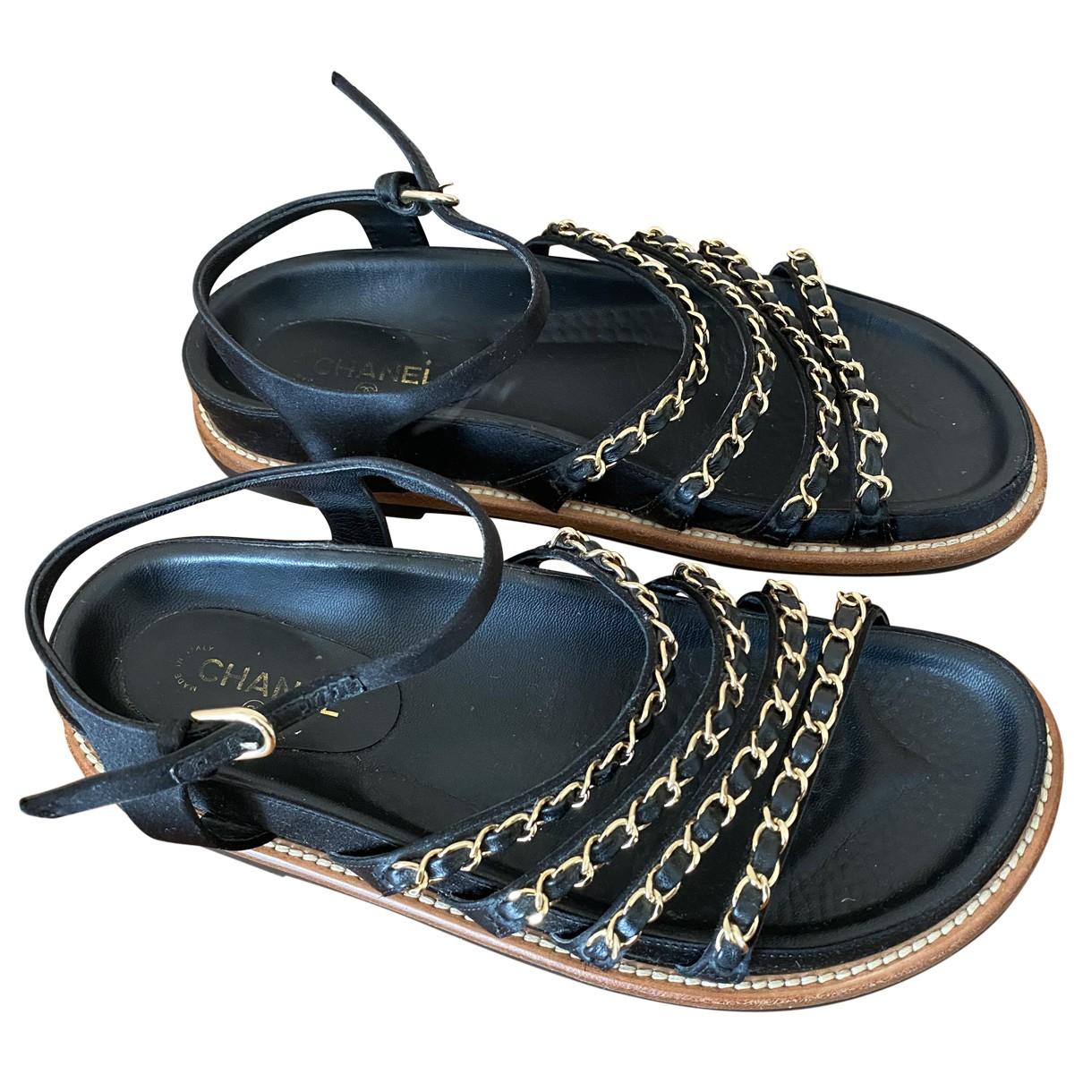 Chanel N Black Cloth Sandals for Women 37 EU
