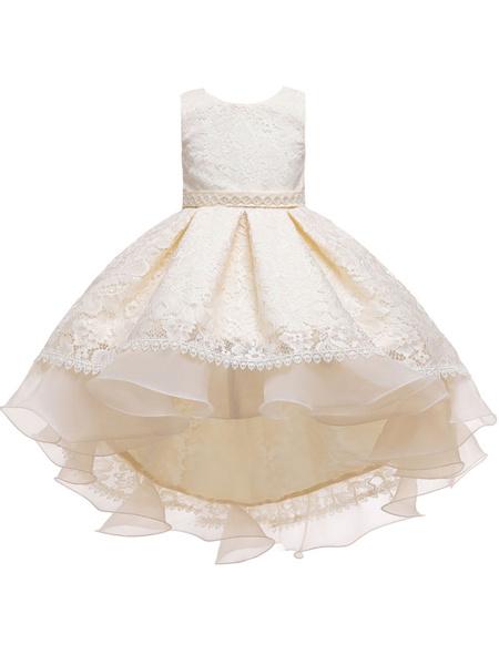 Milanoo Vestidos de niña de las flores Cuello joya Poliester Sin mangas con tren Silueta de princesa Arcos Vestidos de fiesta para niños