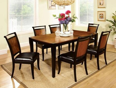 Salida I Collection CM3034T6SC 7-Piece Dining Room Set with Rectangular Table and 6 Side Chairs in Black Acacia