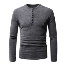 Men Button Front Round Neck Tee