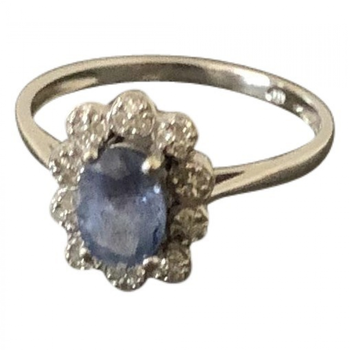 Non Signe / Unsigned Saphir Ring in  Silber Weissgold