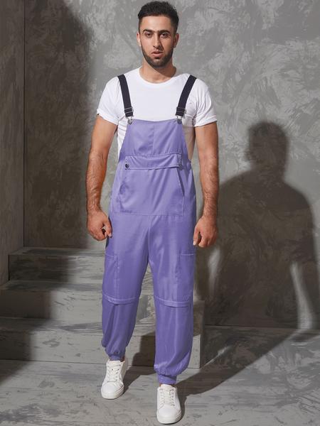 Yoins Men Casual Big Pockets Suspender Jumpsuit Overalls Pants
