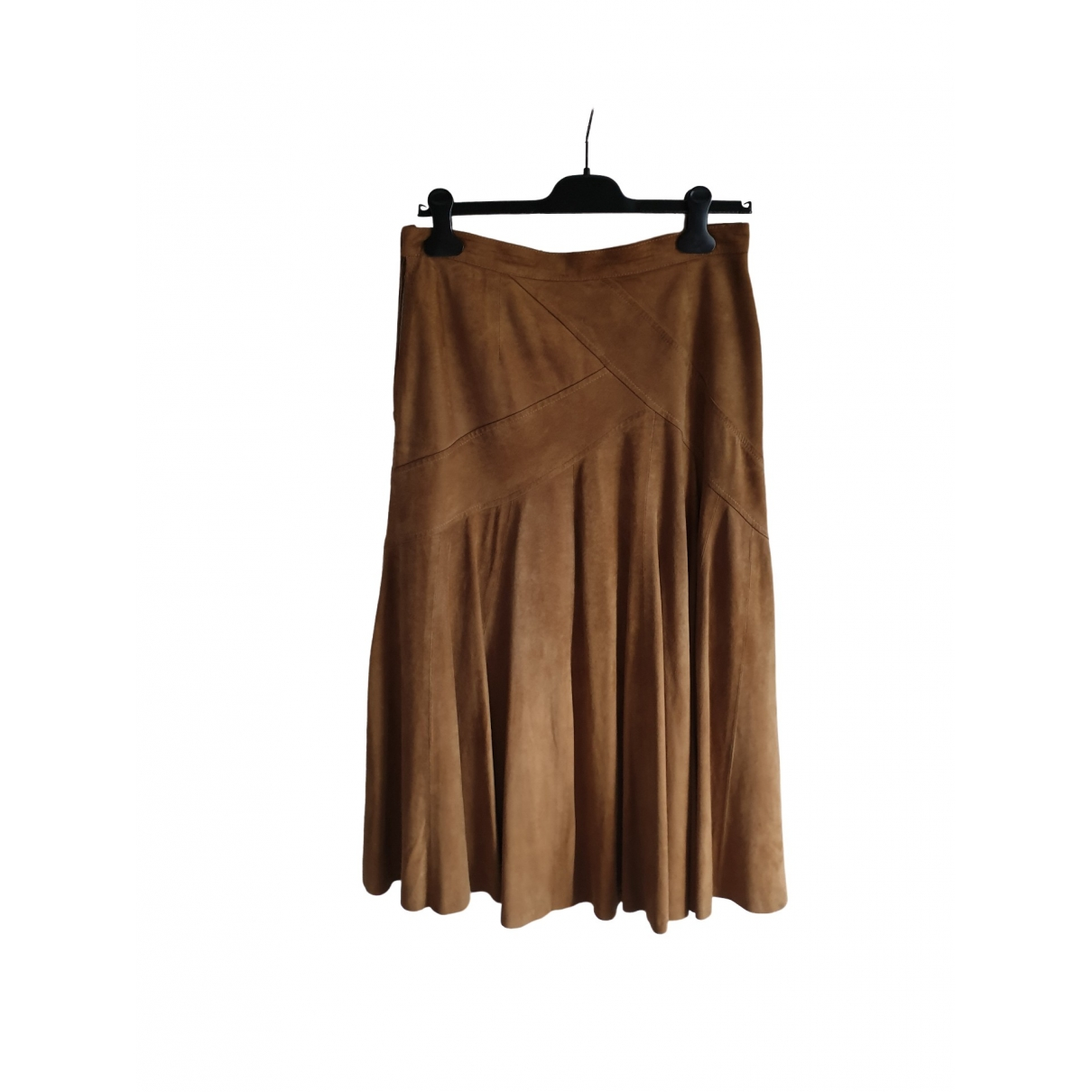 Non Signé / Unsigned \N Camel Suede skirt for Women 48 IT