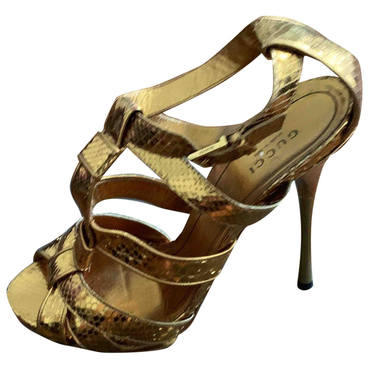 Gucci \N Gold Python Sandals for Women 39 IT