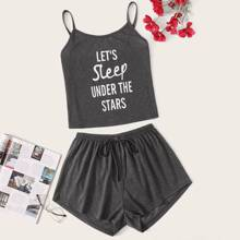 Slogan Graphic Cami Pajama Set