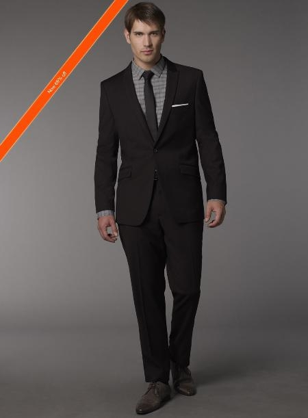 Mens Euro Cut Black Suit and Skinny Tie