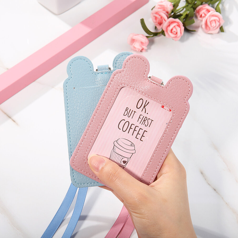 Women Cute Animal Card Holder Wallet Solid Purse Neck Bag