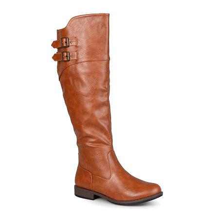 Journee Collection Womens Tori Wide Calf Knee-High Riding Boots, 8 1/2 Medium, Brown