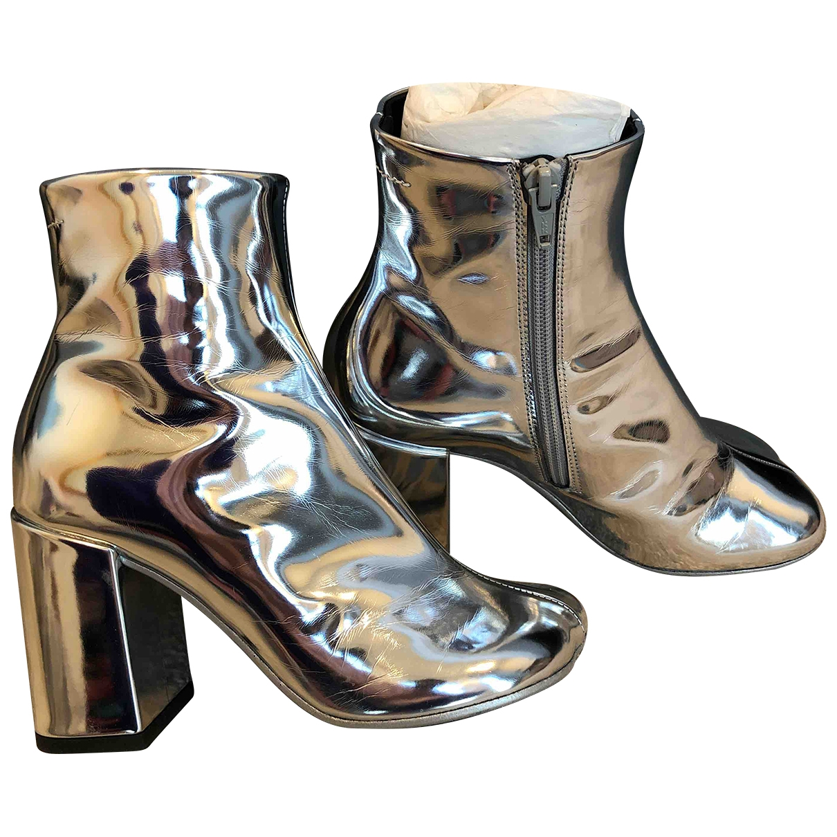 Mm6 \N Silver Leather Boots for Women 36 EU