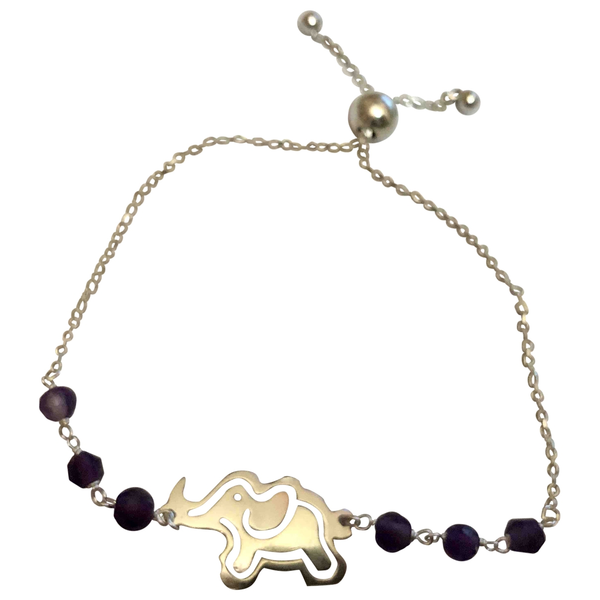 Non Signe / Unsigned Amethyste Armband in  Lila Silber
