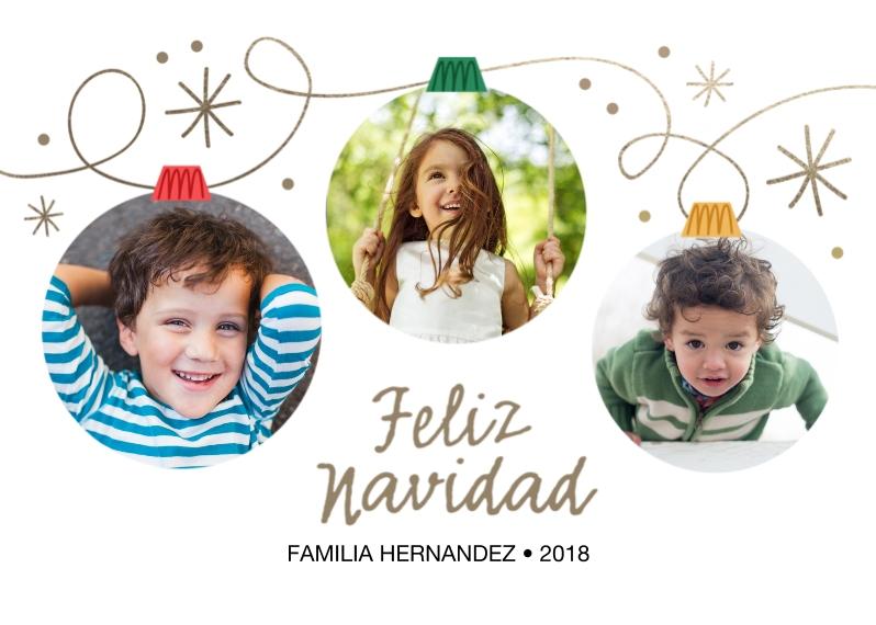 Tarjetas de Navidad 5x7 Folded Cards, Premium Cardstock 120lb, Card & Stationery -Feliz Navidad Ornaments