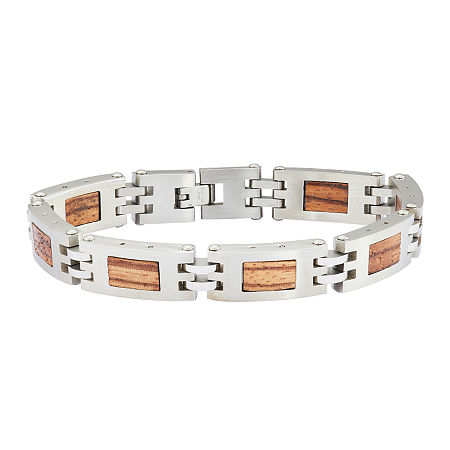 Mens Stainless Steel Chain & Wood Bracelet, One Size , No Color Family