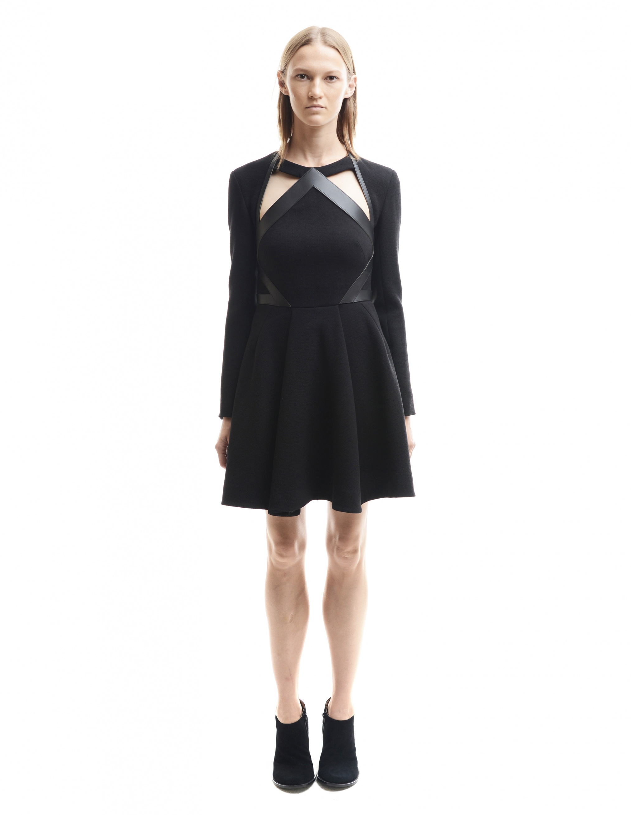 David Koma Black Cut-Out Leather Trimmed Dress
