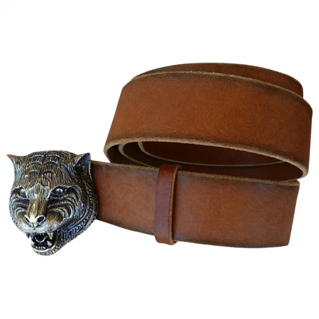 Gucci Feline Buckle Brown Leather belt for Women 90 cm