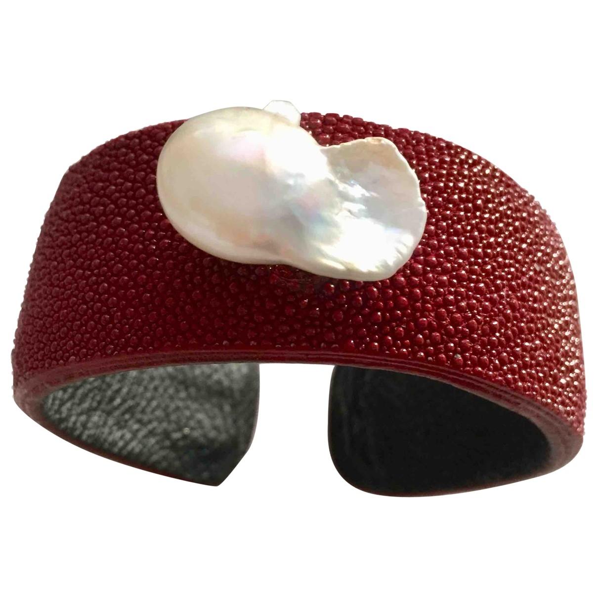 - Bracelet Manchette pour femme en galuchat - bordeaux