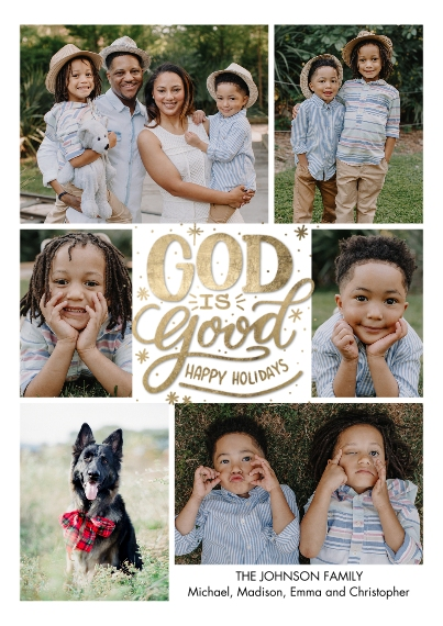 Christmas Photo Cards 5x7 Cards, Premium Cardstock 120lb, Card & Stationery -Christmas Snapshots God is Good by Tumbalina