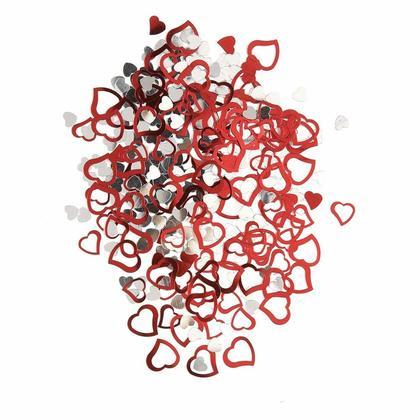 Confettis de coeur métalliques et rouges argentés pour la fête de la Saint-Valentin, 0.5oz