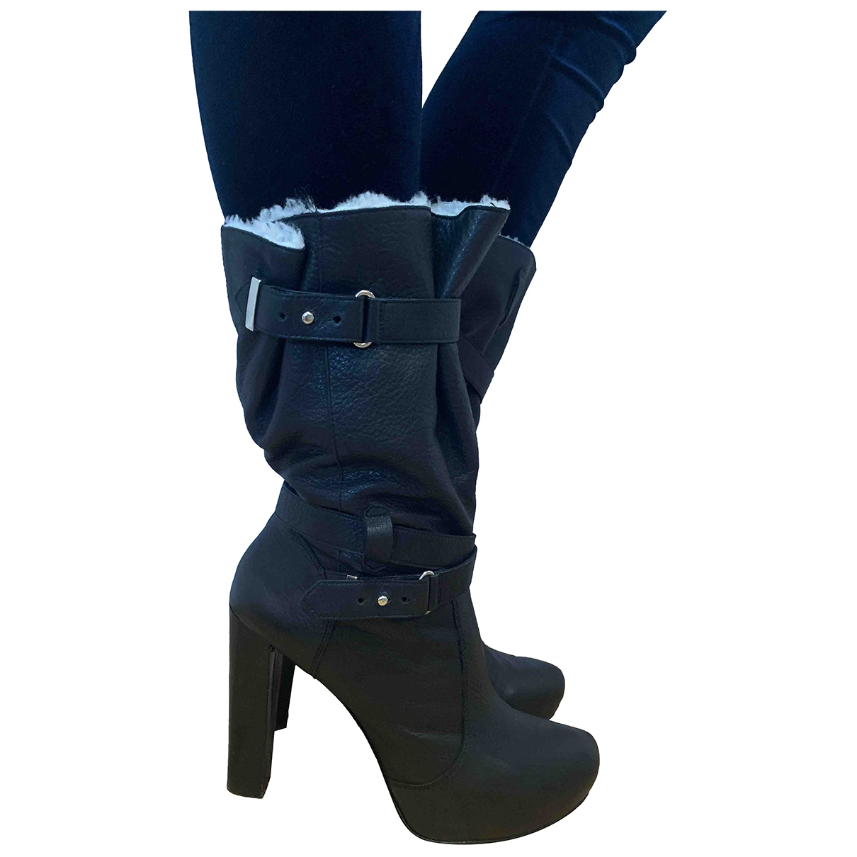Reiss \N Black Leather Boots for Women 41 EU
