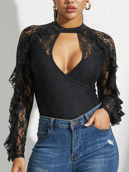 YOINS Black Lace Round Neck Long Sleeves Bodysuit