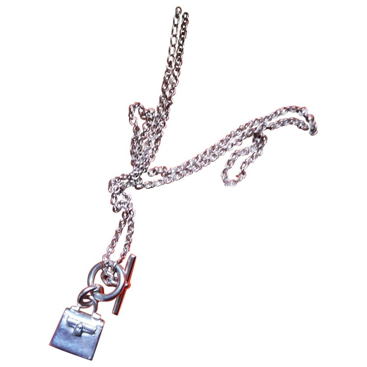 Hermes - Pendentif Amulette pour femme en metal - argente