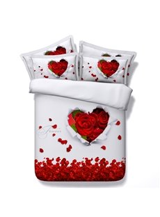 3D Heart-shaped Red Rose and Petals Printed 5-Piece Comforter Sets