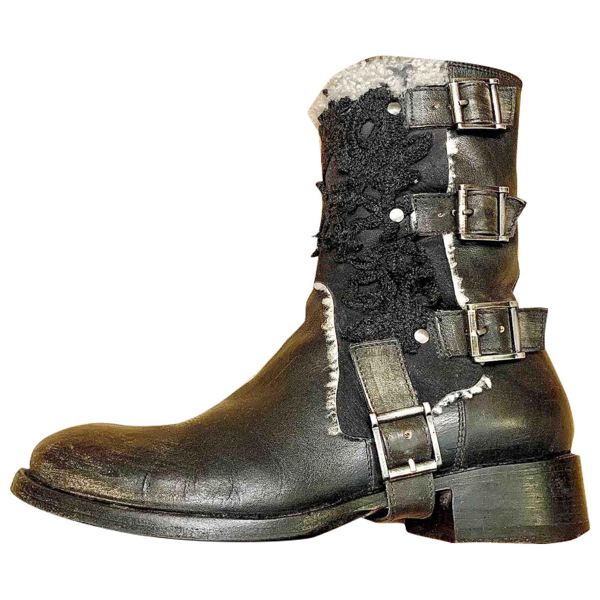 Ermanno Scervino - Boots   pour femme en cuir - noir