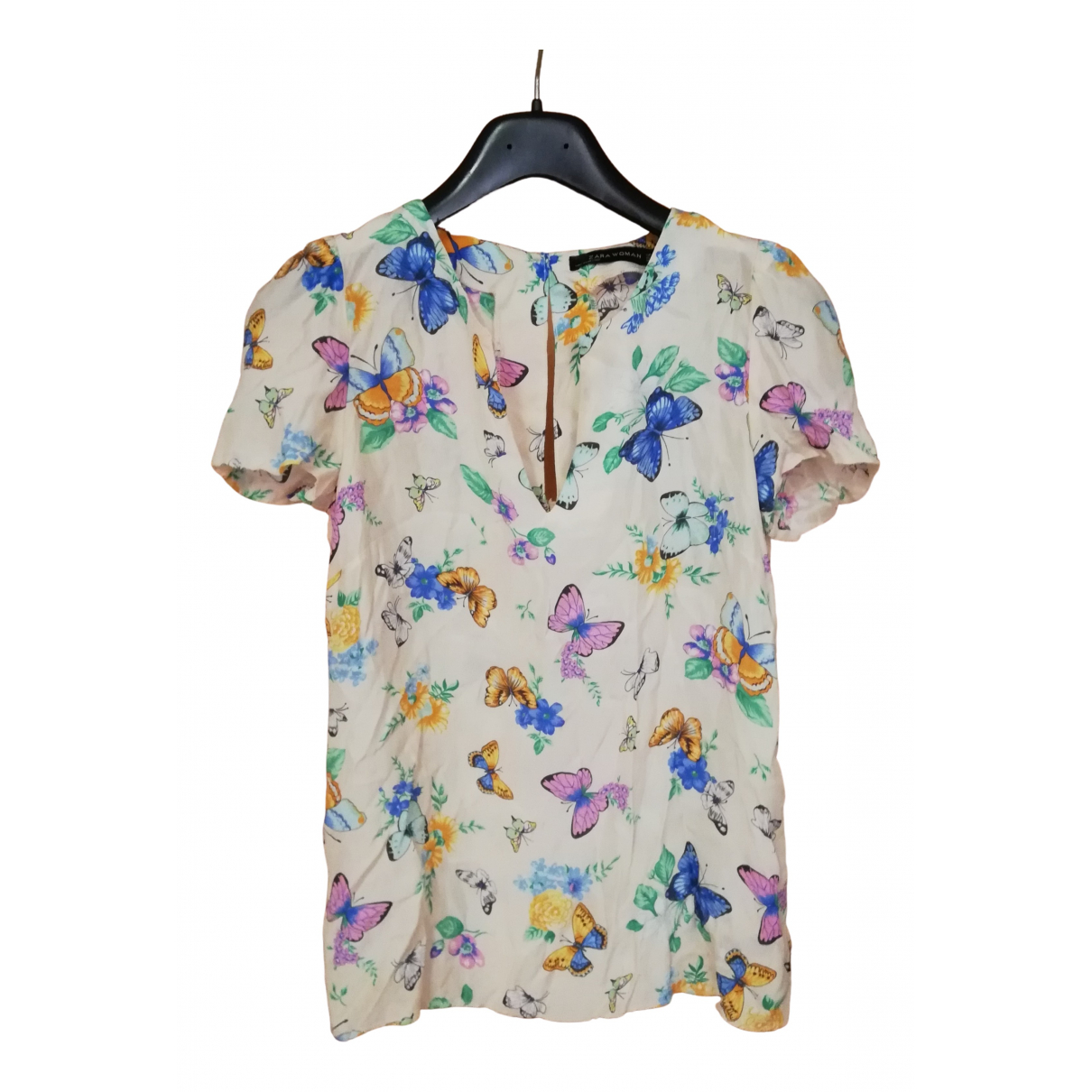 Zara - Top   pour femme en soie - multicolore