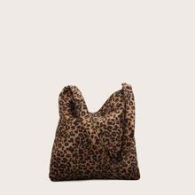Schultertasche mit Leopard Muster