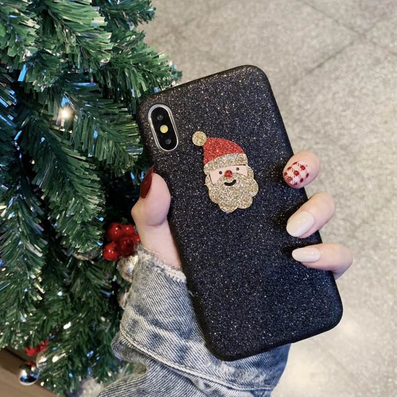 Christmas Glitter Cute Faux Leather Phone Case