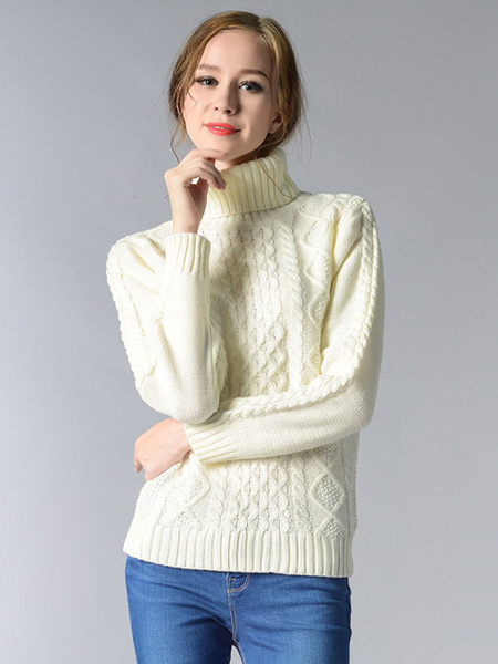 Milanoo Women Turtleneck Sweater Long Sleeve Cable Knit Sweater