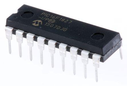 Microchip PIC16F1827-I/P, 8bit PIC Microcontroller, PIC16F, 32MHz, 256 B, 4K x 14 words Flash, 18-Pin PDIP (25)