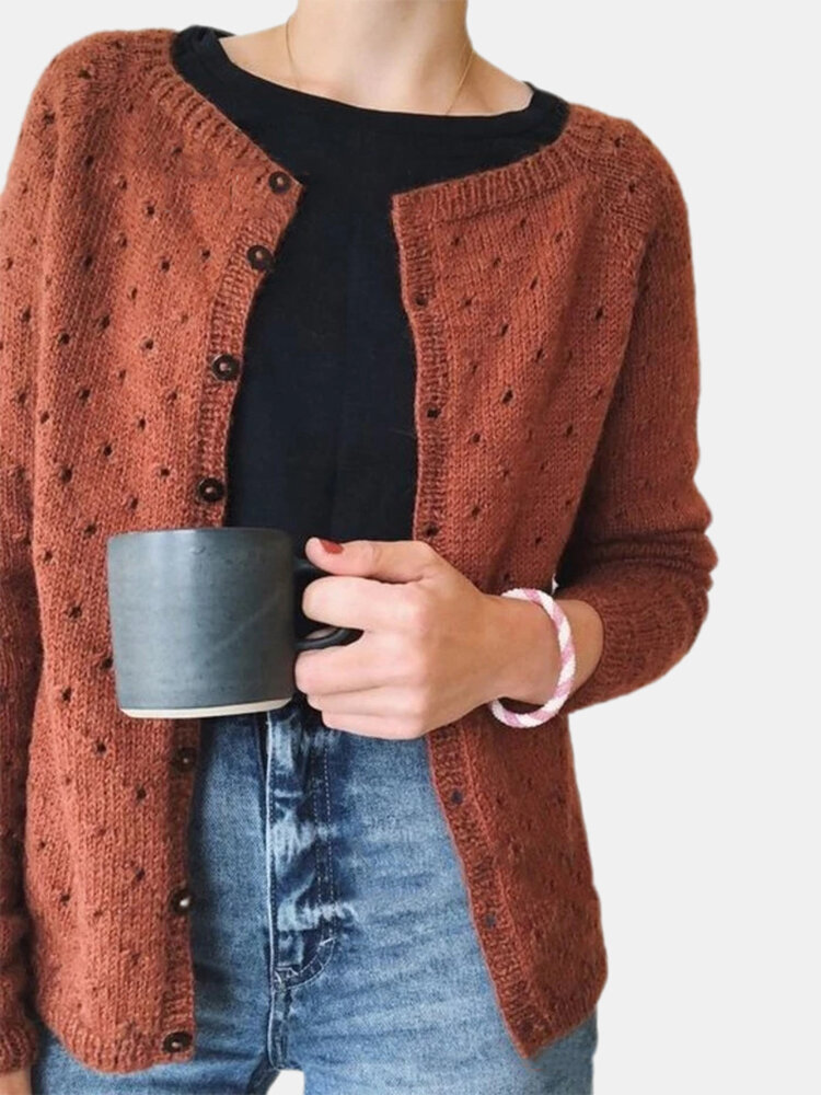 Solid Color Hollow Out Long Sleeve O-neck Button Cardigan
