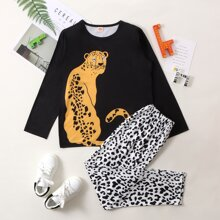 Boys Leopard Print Tee & Pants PJ Set