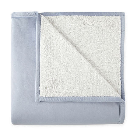 Home Expressions Reversible Micro Velvet to Sherpa Blanket, One Size , Blue