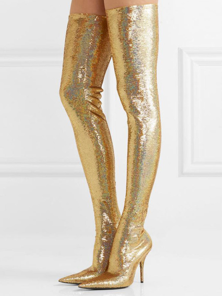 Milanoo Over The Knee Boots Light Gold Pointed Toe Sequined Winter Boots For Women
