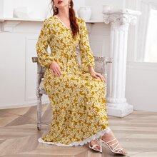 Kleid mit Blumen Muster, Guipure Spitzenbesatz und Guertel