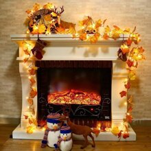 1pc String Light With 20pcs Maple Leaf Shaped Bulb