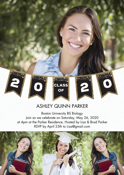 2020 Graduation Invitations 5x7 Cards, Premium Cardstock 120lb, Card & Stationery -2020 Grad Party Banner Flags by Tumbalina