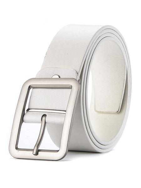 Milanoo White Men Belt Buckle Solid Color PU Waistband