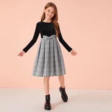 Vestido de niñas de cuadros con diseño de lazo de terciopelo