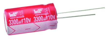 Wurth Elektronik 1000μF Electrolytic Capacitor 16V dc, Through Hole - 860240378009 (5)