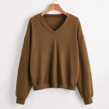 Plus V-neck Waffle Knit Sweatshirt