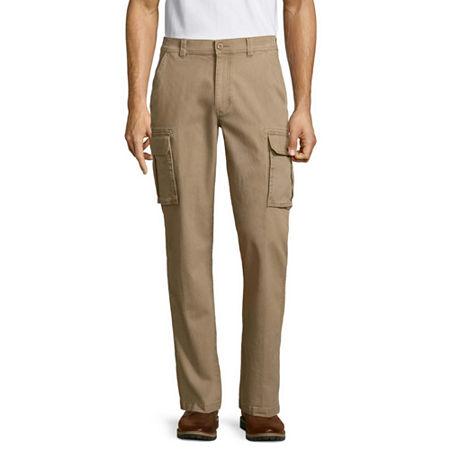 St. John's Bay Men's Stretch Cargo Pant, 30 32, Brown